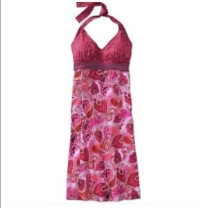 Athleta paisley backless pink dress 12